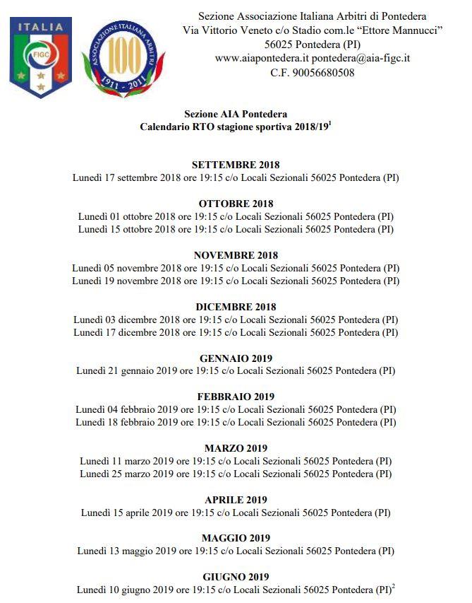 Calendario Per Sito Web.Calendario Rto Stagione 2018 2019 Sezione Aia Di Pontedera